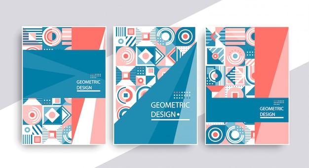 Diseño retro de portada gráfica. conjunto de composiciones vintage geométricas.
