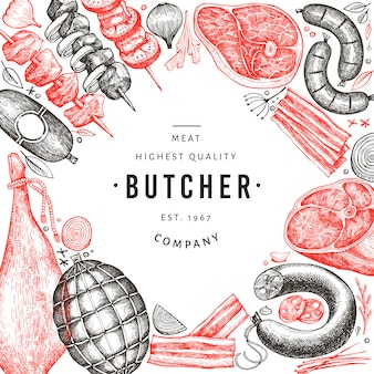 Diseño retro de productos cárnicos vector. dibujado a mano jamón, embutidos, especias y hierbas.