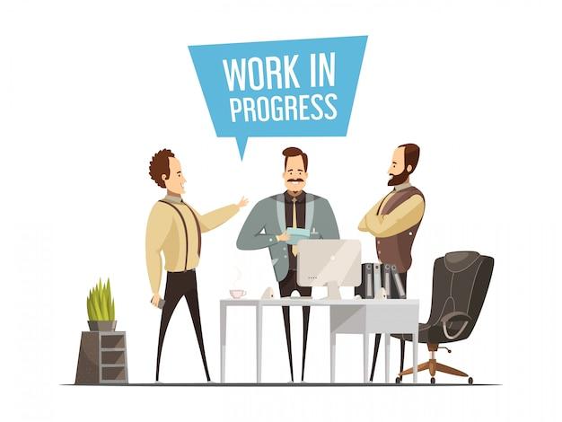 Diseño de reuniones de trabajo en estilo de dibujos animados con hombres de pie alrededor de la mesa de la oficina durante la comunicación vect