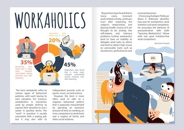 Diseño de revista adicto al trabajo con infografías de símbolos de trabajo de oficina plana