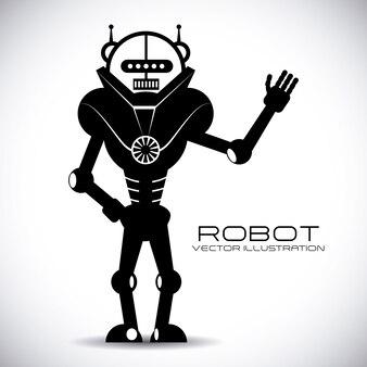 Diseño de robot sobre fondo gris ilustración vectorial