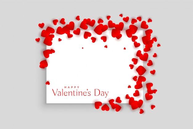 Diseño rojo hermoso del marco del día de tarjetas del día de san valentín de los corazones