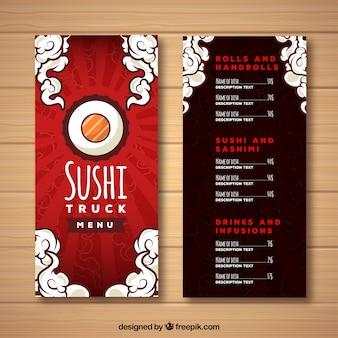 Diseño rojo de menú de sushi