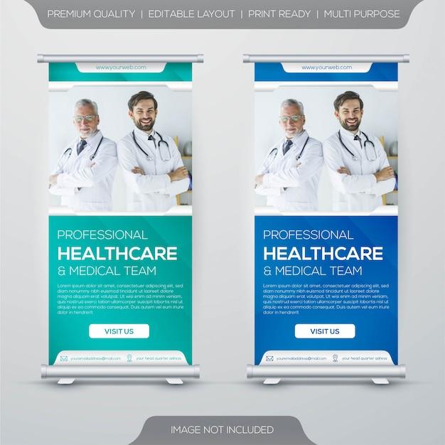Diseño roll-up x-banner de atención médica