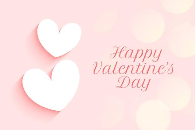 Diseño rosa suave del día de san valentín con dos corazones