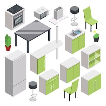 Diseño de sala 3d. vector conjunto de muebles isométricos para cocina