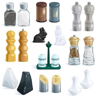 Diseño de salero botella de pimienta contenedor de vidrio y utensilios de cocina de madera salero decoración ilustración conjunto de ingredientes de cocina salada aislado sobre fondo blanco.