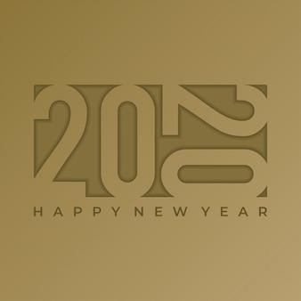 Diseño de saludo de año nuevo de banner 2020 con texto en relieve sobre papel dorado
