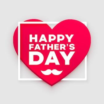 Diseño de saludo del corazón del día de padres feliz