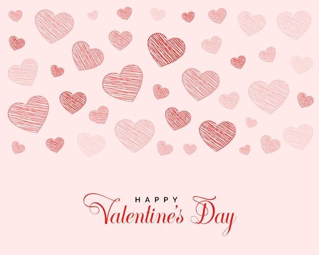 Diseño de saludo del día de san valentín con corazones de doodle vector gratuito