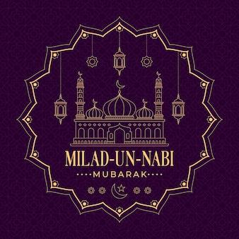 Diseño de saludo de evento islámico mawlid