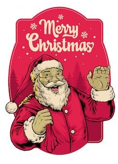Diseño de saludo de feliz navidad vintage con ilustración de santa claus