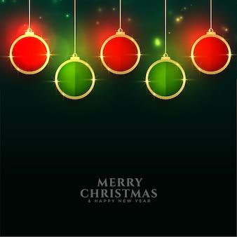 Diseño de saludo festival de decoración de bolas de navidad brillante
