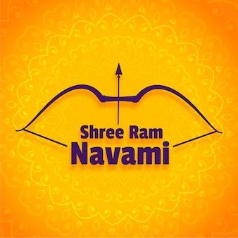 Diseño de saludo del festival shree ram navami con arco y flecha