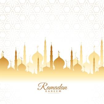 Diseño de saludo de la mezquita de ramadan kareem