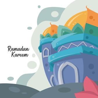 Diseño de saludo de ramadhan kareem con fondo de mezquita