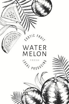Diseño de sandías, melones y hojas tropicales.
