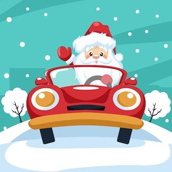 Diseño de santa claus conduciendo un coche en navidad.