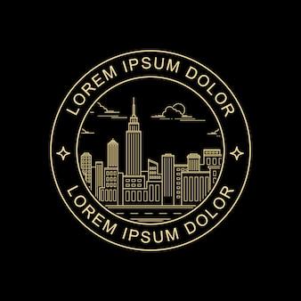 Diseño de sellos de estilo de arte de línea de ciudad