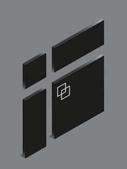 Diseño de señalización acrílico negro sobre fondo gris