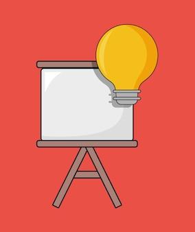 Diseño de seo con panel de presentación y bombilla