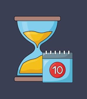 Diseño de seo con reloj de arena y calendario