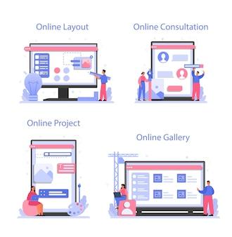 Diseño de servicio en línea o conjunto de plataforma