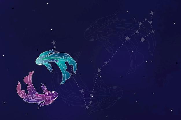 Diseño de signo astrológico de piscis