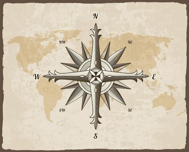 Diseño de signo de brújula antiguo náutico