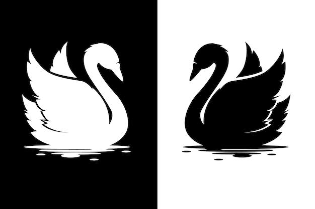 Diseño de silueta de cisne