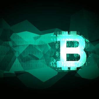 Diseño de símbolo de bitcoin de criptomoneda abstracta