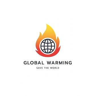 Diseño de símbolo de logotipo de calentamiento global.