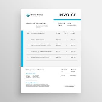 Diseño simple de plantilla de vector de factura