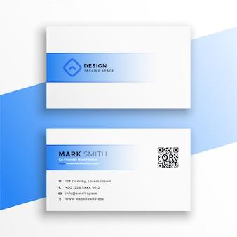 Diseño simple de tarjeta de visita azul y blanca