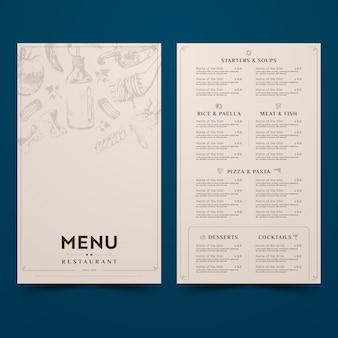 Diseño simplista para el menú del restaurante.