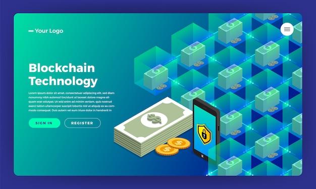 Diseño de sitio web concepto de diseño plano blockchain y criptomoneda