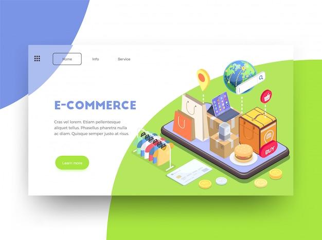 Diseño de sitio web de página de aterrizaje isométrica de comercio electrónico de compras con imágenes de texto enlaces y botones clicables ilustración vectorial