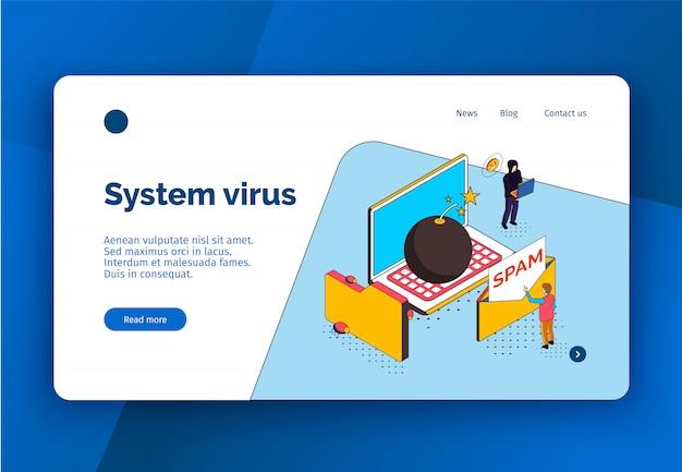 Diseño de sitio web de página de inicio de concepto de seguridad cibernética isométrica con botones de enlaces clicables e imágenes conceptuales con ilustración de vector de texto