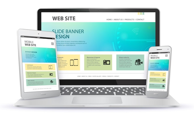 Diseño de sitio web receptivo con computadora portátil, teléfono móvil e ilustración de pantalla de tablet pc