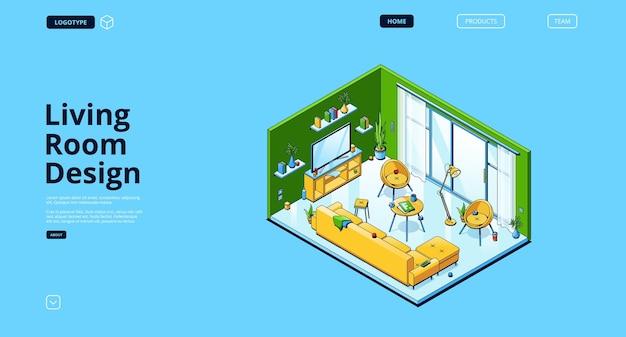 Diseño de sitio web con sala de estar isométrica.