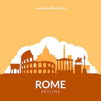 Diseño de skyline naranja de roma