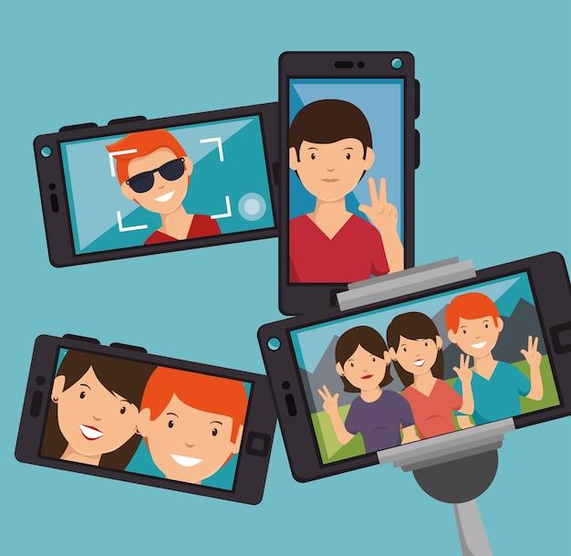 Diseño de smartphone selfie de personaje