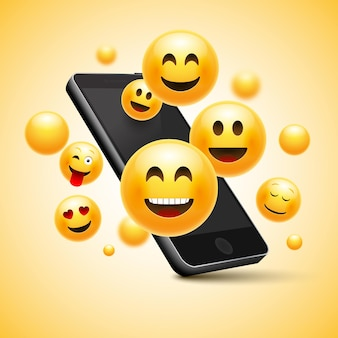 Diseño de smiley feliz emoji con teléfono móvil.