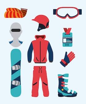 Diseño de snowboard, ilustración vectorial.