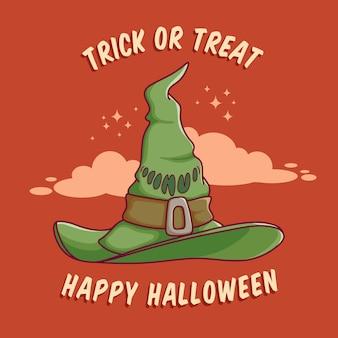 Diseño de sombrero de bruja feliz hallowen con diseño plano mejor uso para invitación de banner web de póster Vector Premium