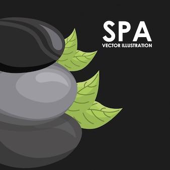 Diseño de spa sobre fondo negro ilustración vectorial