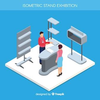 Diseño de stand de exposición isométrico