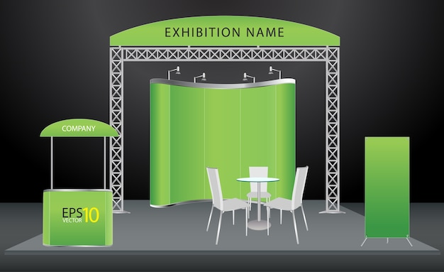 Diseño de stand de exposición de vector