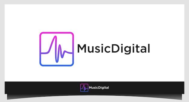 Diseño de stock de plantilla de logotipo de onda de sonido de audio. logotipo de tecnología de música abstracta de línea. emblema de elemento digital, forma de onda de señal gráfica, curva, volumen y ecualizador. vector de ilustración