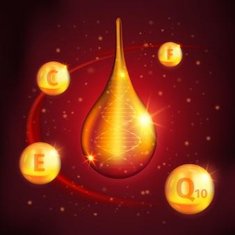 Diseño de suero de colágeno con gota dorada en el centro de bolas de vitaminas alrededor